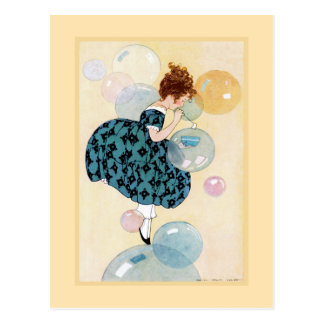 """""""DOUBLY BUBBLY"""" BLOWING BUBBLES POSTCARD"""