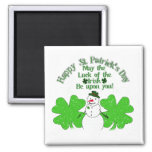 Doubly Lucky Snowman 2 Inch Square Magnet