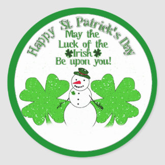 Doubly Lucky Snowman Classic Round Sticker