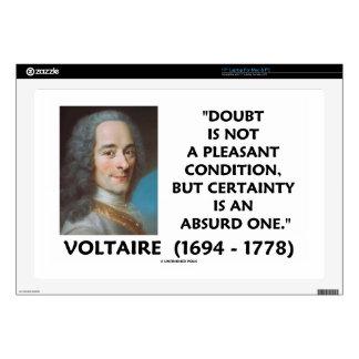 "Doubt Not Pleasant Condition Certainty Voltaire 17"" Laptop Decals"