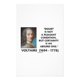 Doubt Not Pleasant Condition Certainty Voltaire Stationery
