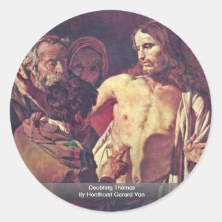 Doubting Thomas By Honthorst Gerard Van Round Sticker