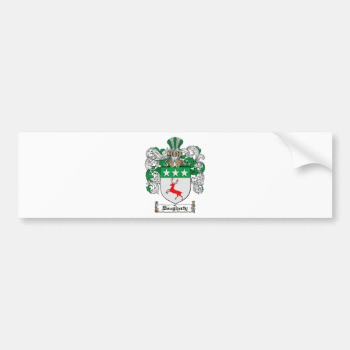 DOUGHERTY FAMILY CREST -  DOUGHERTY COAT OF ARMS CAR BUMPER STICKER