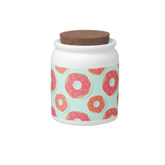 Doughnut Donut Pattern, Pink and Blue Candy Jar