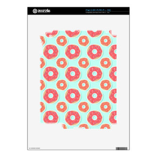 Doughnut Donut Pattern, Pink and Blue Skin For The iPad 2