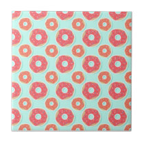 Doughnut Donut Pattern, Pink and Blue Tile