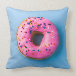 "Doughnut photo blue and pink modern design Pillow<br><div class=""desc"">Modern and fun photo design on Pillow. doughnut in blue and pink as contrast brings joy and game in your product. You are welcome to visit my store for more beautiful products.</div>"