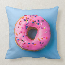 Doughnut photo blue and pink modern design Pillow