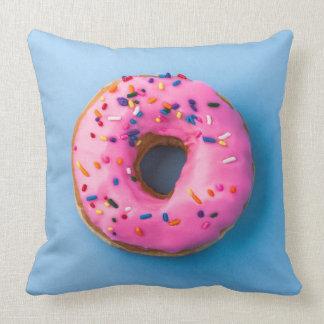Doughnut photo blue and pink modern design Pillow