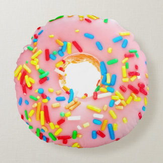 Doughnut Pink Frosting Blue Yellow Red Sprinkles Round Pillow