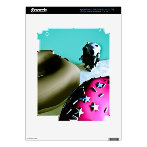 Doughnuts and Toy Robot 02 Zazzle Skin Skins For iPad 3