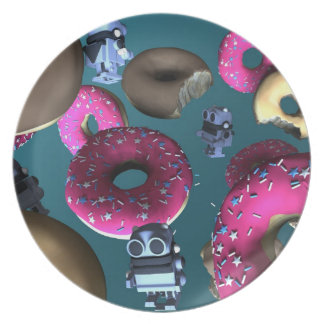 Doughnuts and Toy Robot 03 Plate