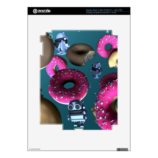 Doughnuts and Toy Robot 03 Zazzle Skin Decal For iPad 3