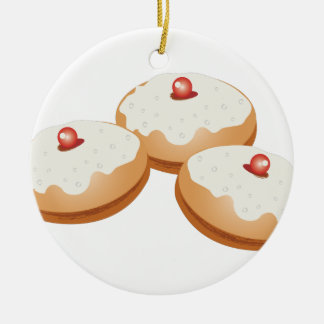 Doughnuts Double-Sided Ceramic Round Christmas Ornament