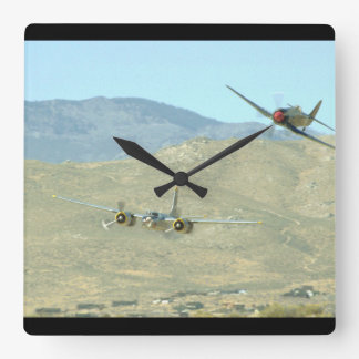 Douglas A26 And Seafury, Flying_WWII Planes Square Wall Clock