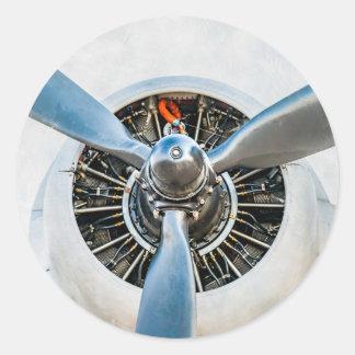 Douglas DC-3 Aircraft. Propeller Classic Round Sticker