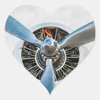 Douglas DC-3 Aircraft. Propeller Heart Sticker