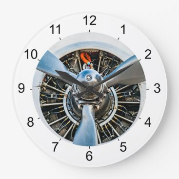 DigitalSolutions2u Douglas DC-3 Aircraft. Propeller Large Clock