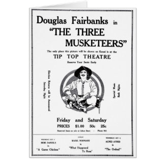 Douglas Fairbanks 1922 movie ad Three Musketeers Greeting Card