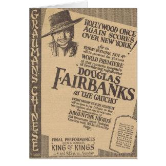 Douglas Fairbanks el anuncio 1927 del gaucho Tarjeta De Felicitación