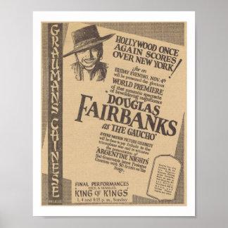 Douglas Fairbanks el estreno mundial 1927 del gauc Póster