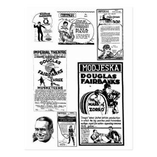 Douglas Fairbanks Silent movie ads Postcard