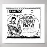 Douglas Fairbanks The Black Pirate vintage film ad Posters