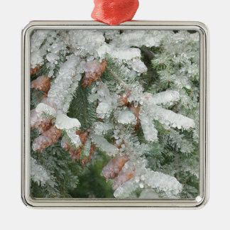 Douglas Fir Covered with Ice Metal Ornament