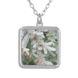 Douglas Fir Covered with Ice Silver Plated Necklace