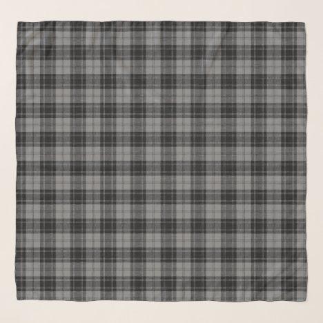 Douglas Grey Tartain Plaid Black Gray Scarf