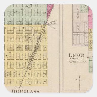 Douglas, León, Wingate, y Latham, Kansas Pegatina Cuadrada