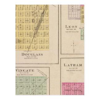 Douglas, León, Wingate, y Latham, Kansas Postales
