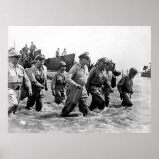 Douglas MacArthur lands at Leyte Philippine Island Poster