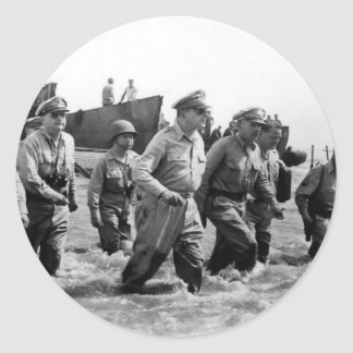 Douglas MacArthur lands at Leyte Philippine Island Classic Round Sticker