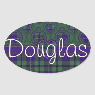 Douglas Scottish Tartan Oval Sticker