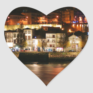 Douro river in Porto, Portugal Heart Sticker
