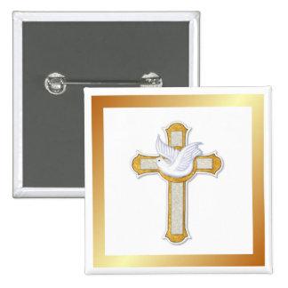 Dove and Cross 2 Inch Square Button