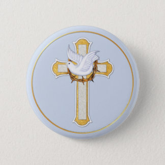 Dove and Cross Pinback Button