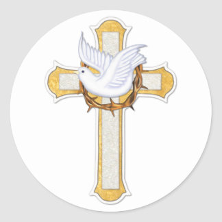 Dove and Cross Round Stickers