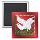 Dove and Holly 2 Inch Square Magnet