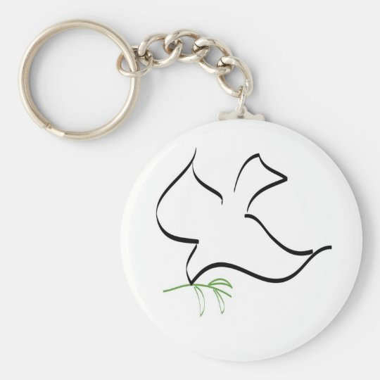 Dove and Olive Branch Image Keychain