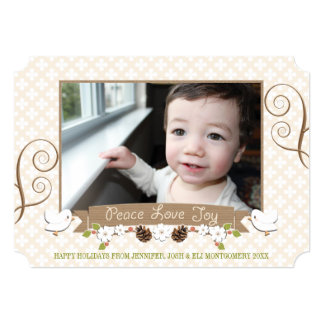 Dove and Pine Cone Laurel Holiday Photo Card Custom Announcement