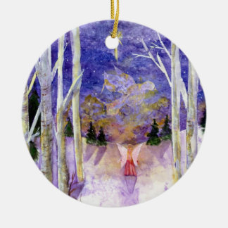 Dove Angel Birch Forest Ceramic Ornament