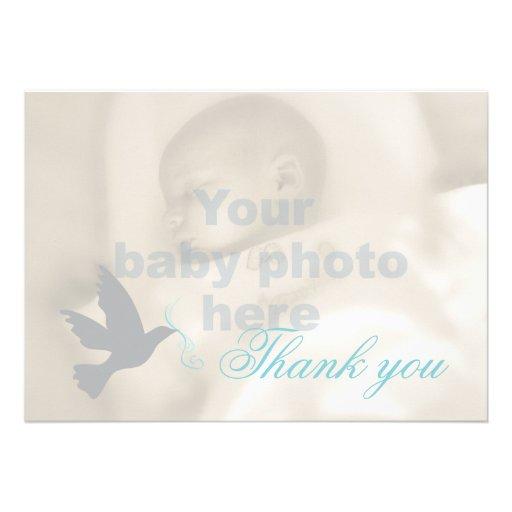 Dove aqua blue boys baptism photo thank you card