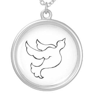 Dove bird in flight - fun simple line drawing art jewelry