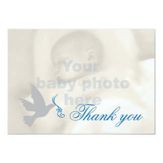 Dove blue boys baptism photo thank you card
