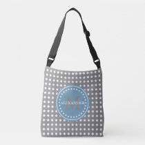 Dove Carolina Blue Polka Dot Monogram Diaper Bag