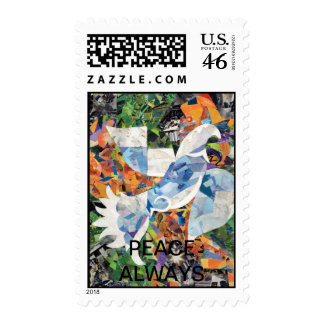 DOVE collage. Peace Always. Stamp