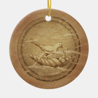 Dove & Cornucopia Good Fortune Ceramic Ornament