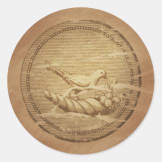 Dove & Cornucopia Good Fortune Classic Round Sticker